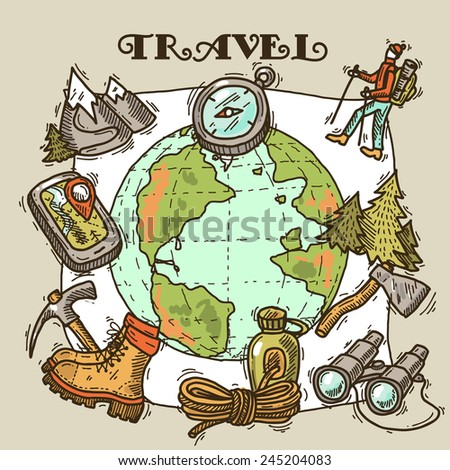 beautiful hand- drawn travel illustration  - stock vector