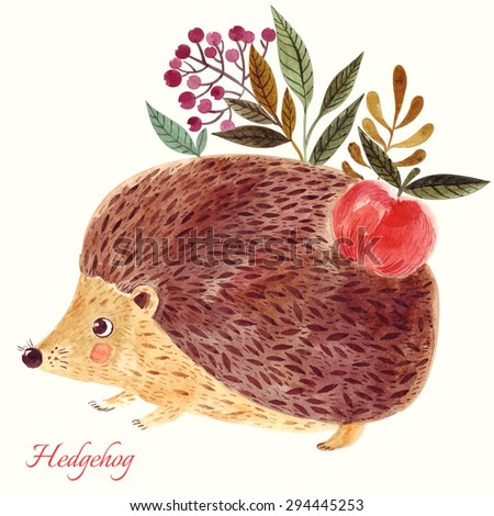 Beautiful hand painted vector illustration with adorable cute hedgehog in watercolor technique. Beautiful card. - stock vector
