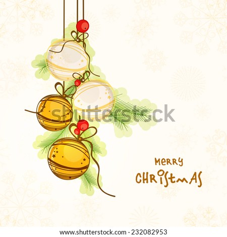 Beautiful hanging X-mas balls on snowflakes and floral decorated background, greeting card for Merry Christmas celebrations. - stock vector