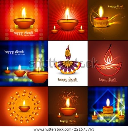 Beautiful happy diwali 9 collection presentation bright colorful hindu festival for glowing celebration background - stock vector