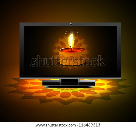 Beautiful happy diwali led tv screen celebration colorful background vector - stock vector