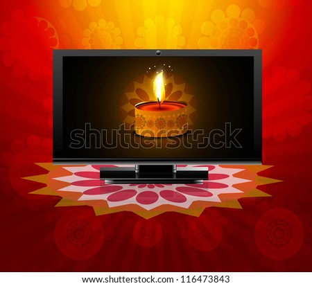 Beautiful happy diwali led tv screen celebration reflection red colorful vector illustration - stock vector