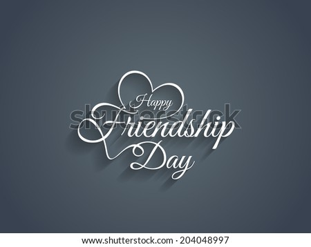 Beautiful happy friendship day text design. vector illustration - stock vector