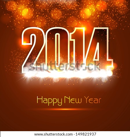 Beautiful Happy new year 2014 bright colorful celebration background vector - stock vector