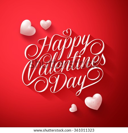 Beautiful Happy Valentines Day Typography Title in Red Background with Long Shadow and Cute White Hearts. Vector Illustration  - stock vector