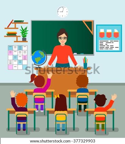 Beautiful happy young teacher woman standing teaching in front children raising hands up sitting in classroom - stock vector