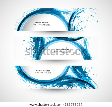 Beautiful header set blue stylish grunge wave vector  - stock vector