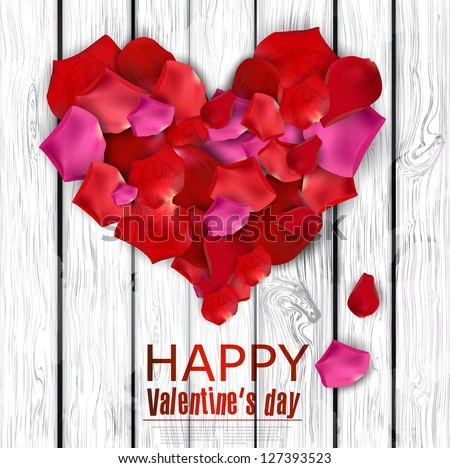 Beautiful heart made from rose petals on wooden texture. Vector background - stock vector