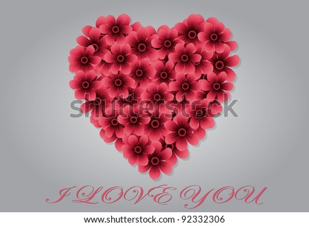 Beautiful heart of Pink Flowers Perfect for Valentines Day. Vector Illustration. - stock vector