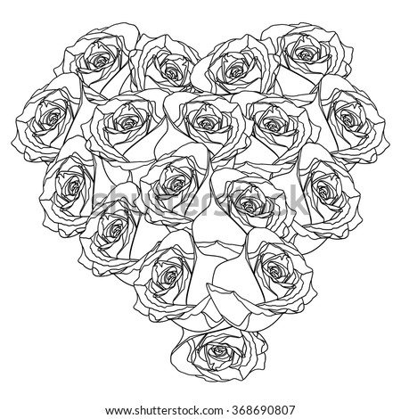 Beautiful heart of roses on white background.Valentines Day. Vector illustration. EPS 10 - stock vector