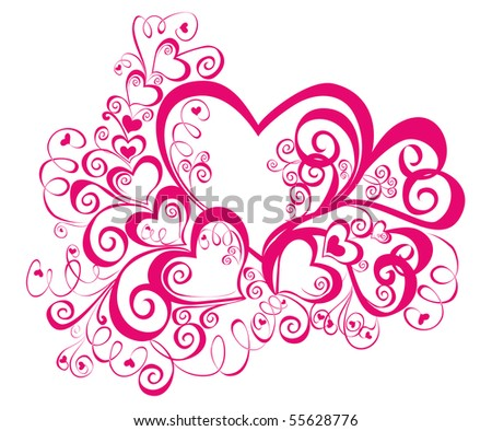 beautiful heart with floral ornament, Element for design, vector image - stock vector