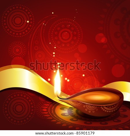 beautiful hindu diwali diya festival vector art - stock vector