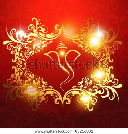 beautiful hindu religion god lord ganesh ji artistic background - stock vector