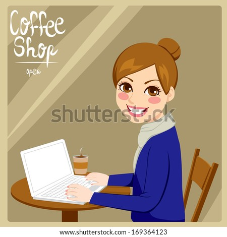 Beautiful hipster style brunette woman enjoying hot coffee with her laptop in a coffee shop - stock vector
