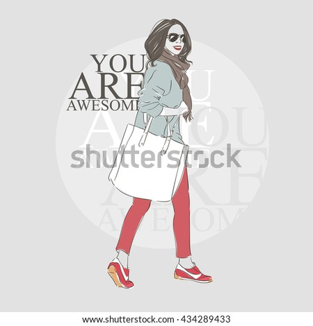 Beautiful hipster young woman in a fashion jacket and glasses with big bag and scarf. Hand drawn illustration. Vector illustration. - stock vector