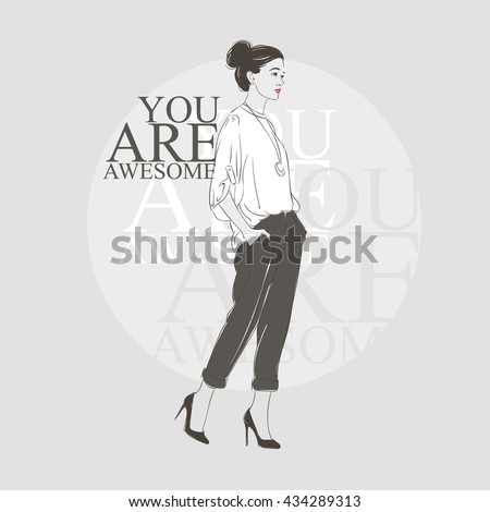 Beautiful hipster young woman in a white blouse and on high heels. Hand drawn illustration. Vector illustration. - stock vector