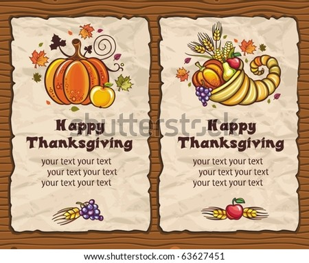 Beautiful Holiday paper arrangements with the space for your own text  on the wooden background. Horn of Plenty, pumpkin, apple, autumn leaves, grapes, apple, pear. - stock vector