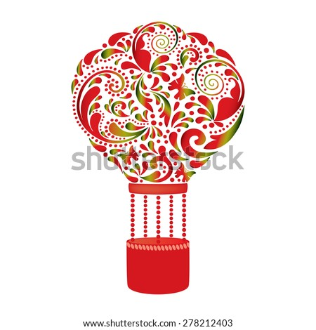 Beautiful hot air balloon. - stock vector