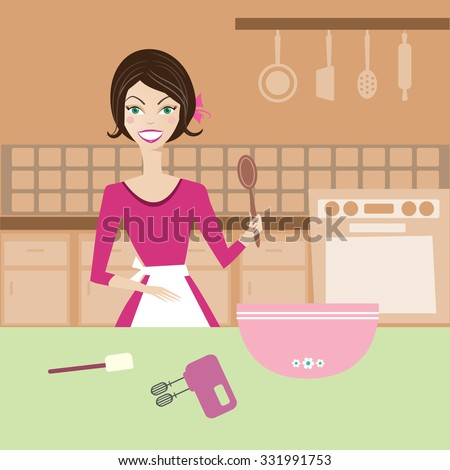 Beautiful housewife in the kitchen making cakes - stock vector
