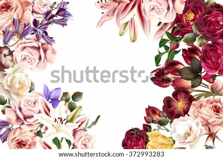 Beautiful illustration from roses lily and other flowers in retro style - stock vector