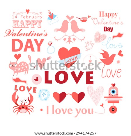 beautiful illustration of a set with a love for Valentines Day - stock vector