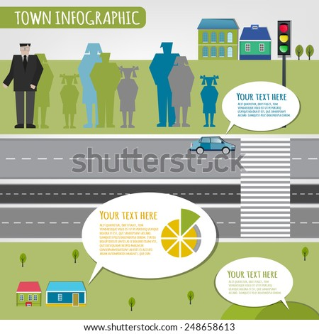 Beautiful illustration of abstract eco town infographics. Vector image. - stock vector