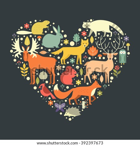 Beautiful illustration with forest animals in a heart shape. Love nature concept. Flat illustration of cute animals for poster, cover design, t-shirt design. - stock vector