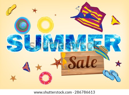 Beautiful illustration with water surface letters and sale wooden billboard. Ideal concept for summer promo ivent. Totally vector colorful image.  - stock vector