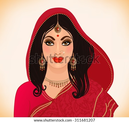 Beautiful indian brunette young woman in colorful sari. Bollywood star traditional fashion. Wedding bride's outfit. - stock vector