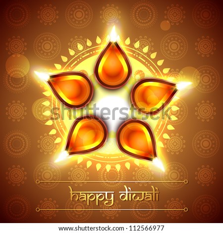 beautiful indian festival diwali vector design - stock vector