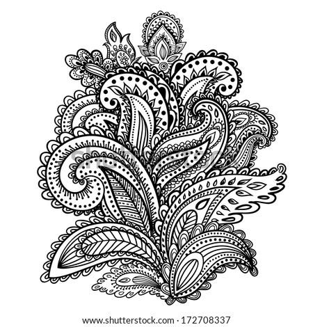 Beautiful Indian paisley ornament - stock vector