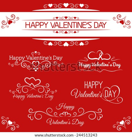 beautiful inscriptions for Valentine's Day - stock vector