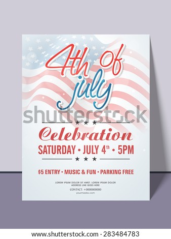 Beautiful invitation card for 4th of July, American Independence Day party celebration with date, time and place details. - stock vector