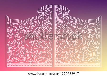 Beautiful iron ornament gates - stock vector