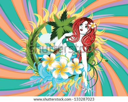 Beautiful island girl in green bikini with red hair and plumeria flower. - stock vector