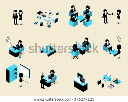 beautiful isometric design of set of business people male and female in each situation, business isometric design concept - stock vector