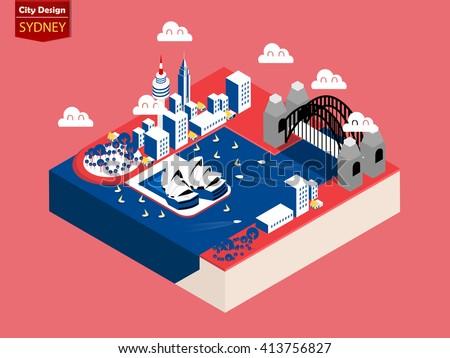 beautiful isometric style design concept of sydney city, australia ,capital of australia isometric design concept - stock vector
