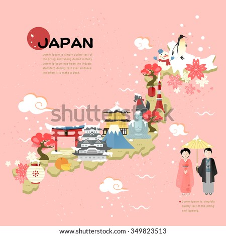 beautiful Japan travel map in flat style - stock vector