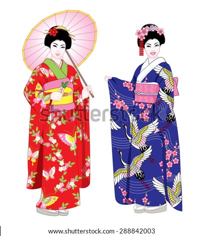 Beautiful japanese girls in kimono and with umbrella. Vector illustration set. - stock vector