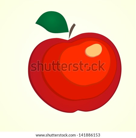 beautiful juicy red apple ,stylized image,vector background - stock vector