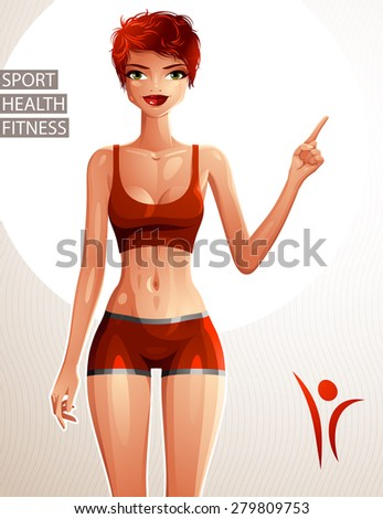 Beautiful lady illustration, full body portrait of slender red-haired female pointing at some empty copy space to side with her finger. Sport, health and fitness theme illustration. - stock vector