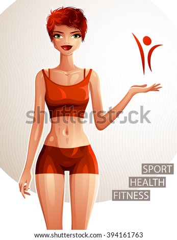 Beautiful lady illustration, full body portrait of slim red-haired female showing at some empty copy space with her hand. Young pretty woman holding hand on waist. Sport and fitness theme. - stock vector