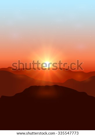 Beautiful landscape with dawn in the mountains, illustration. - stock vector