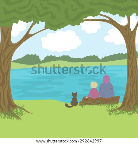 Beautiful landscape with grandmother, grandson and cat sitting on log and admire a nature, coast, trees, river, hills, sky with clouds, vector illustration - stock vector