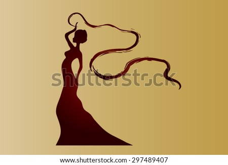 Beautiful Latino - African in profile wearing flown scarf tape. Colors gold and cinnabar. - stock vector
