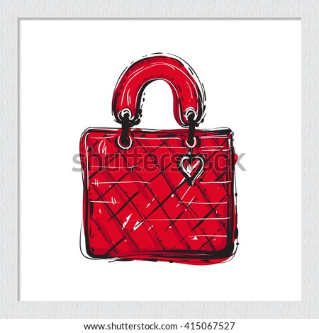 Beautiful leather handbag vector hand drawn fashion sketch. Label with glamour vogue leather handbag. Isolated element on white backdrop in wooden frame. Fashion vector illustration. - stock vector