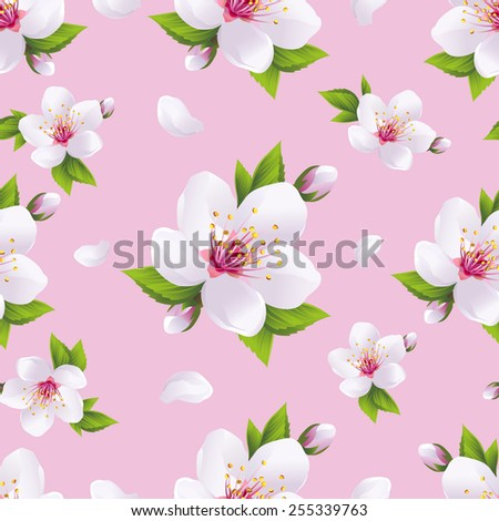 Beautiful light background seamless pattern with white sakura blossom - japanese cherry tree and flying petals. Floral spring pink wallpaper. Vector illustration - stock vector