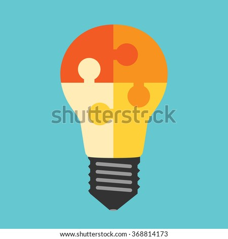 Beautiful light bulb built of multicolor yellow and orange puzzle pieces. Idea, business, solution, teamwork concept. Flat style. EPS 8 vector illustration, no transparency - stock vector
