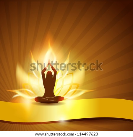 Beautiful lotus flower like fire, woman in yoga pose in the front and golden ribbon. You can add text on the ribbon if necessary. Beautiful harmonic colors. - stock vector