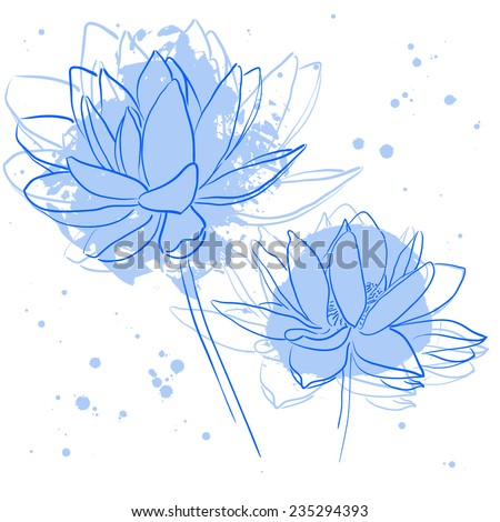 Beautiful lotuses. Hand drawn vector illustration - stock vector